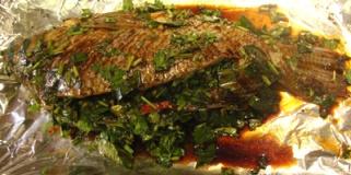 uncooked herb-stuffed tilapia