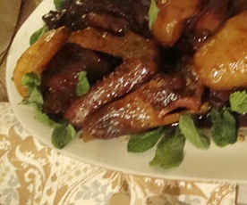 braised duckling with pear halves